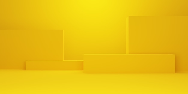 3d rendering pustego żółtego złota abstrakcyjna minimalna koncepcja tło kształt geometryczny. scena reklamowa