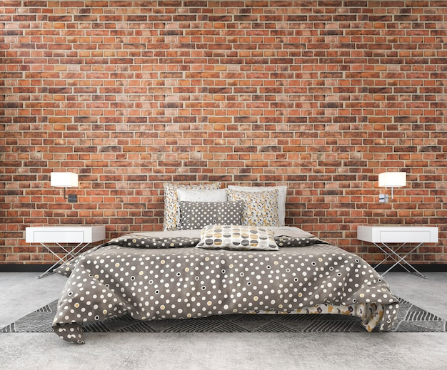 3d rendering rocznika loft cegła egzamin próbny sypialnia w scandinavian stylu