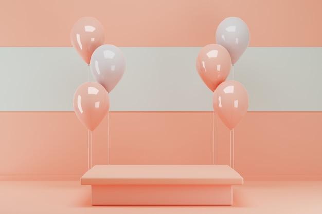3d rendering różowy podium z bukietem balonów