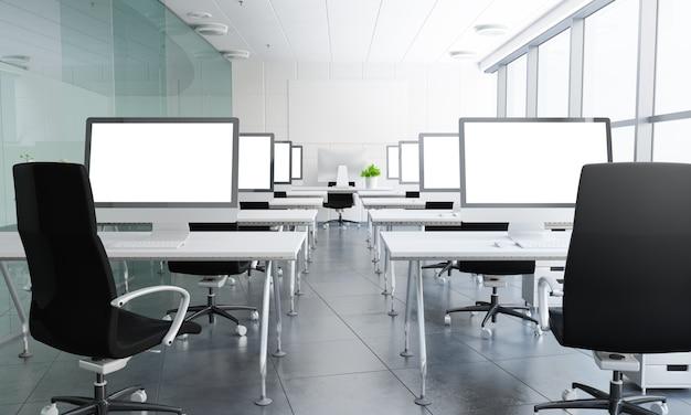 3d rendering sala lekcyjna z białymi ekranami