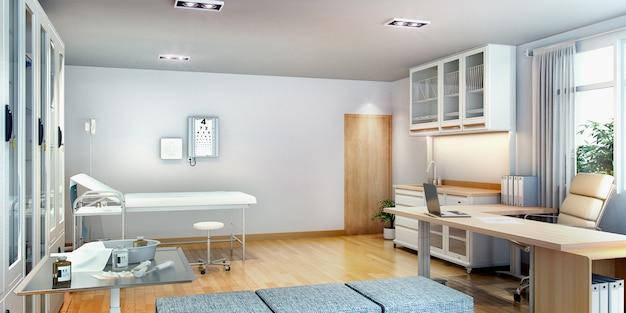 3d rendering sala pierwszej pomocy blisko biura
