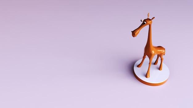 3d rendering ściany dekoracji żyrafa zabawka