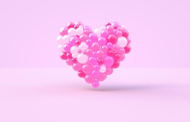 3d rendering. słodki walentynki kształt serca z różowym tle piłki cukierków