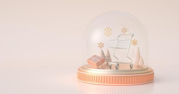 3d rendering śnieżna kula ziemska.