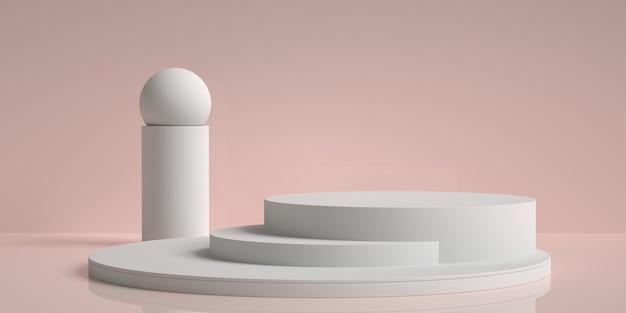 3d rendering streszczenie geometryczne z białym podium