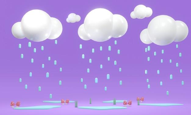3d rendering stylu cartoon ofraining chmury na fioletowym tle w koncepcji pory deszczowej