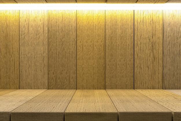 3d rendering, szelfowy drewniany stołowy tło dla produktu pokazu, drewniany tekstury tło