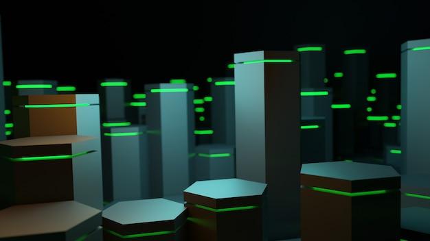 3d rendering sześciokąt geometryczny kształt z zielonym oświetleniem streszczenie tło