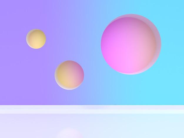 3d rendering trzy sfery