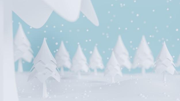 3d rendering, wesoło boże narodzenia i szczęśliwy nowego roku pojęcie, niska poli- sosna z śnieżnym scena projektem, 3d ilustracja