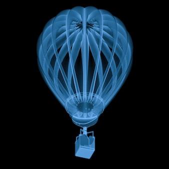 3d rendering x ray balon na gorące powietrze na czarnym tle
