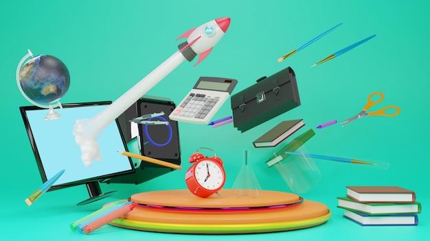 3d rendering z powrotem szkoły wiadomość i szkolne dostawy., 3d ilustracja.