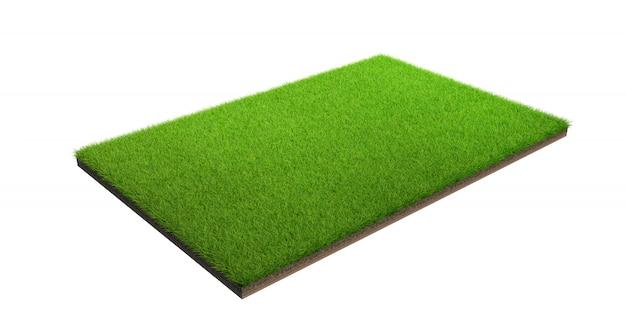 3d rendering zielonej trawy pole odizolowywający na białym tle z ścinek ścieżką. boisko sportowe.