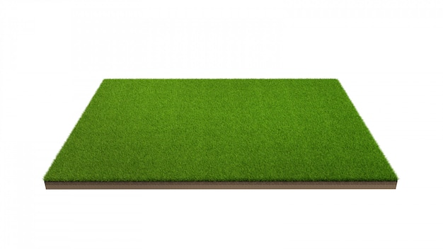 3d rendering zielonej trawy pole odizolowywający.