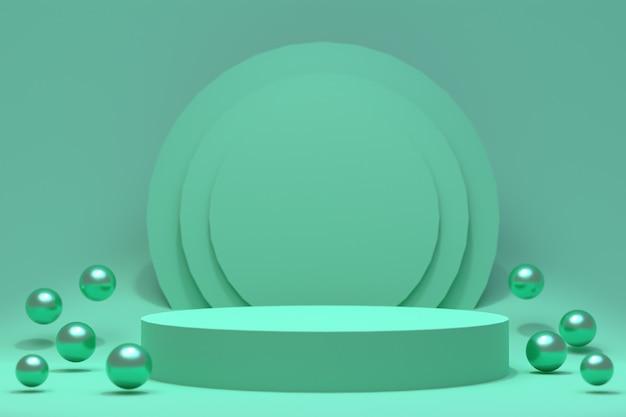 3d rendering, zielony podium minimalny abstrakcjonistyczny tło dla kosmetycznej prezentaci produktu, abstrakcjonistyczny geometryczny kształt
