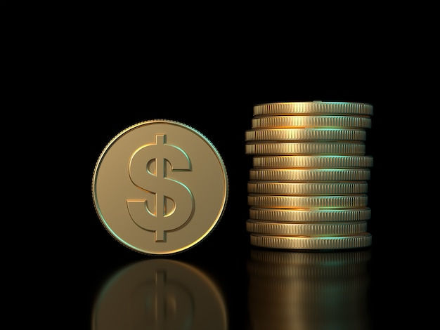 3d rendering złota moneta symbol dolara czarny tło koncepcja gospodarki biznesowej