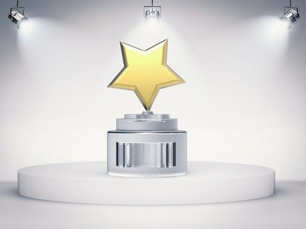 3d rendering złotej gwiazdy trofeum na scenie