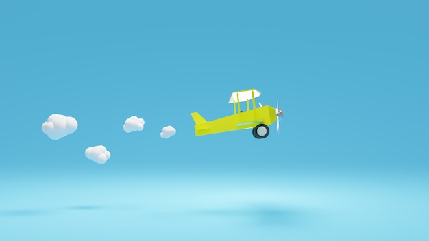 3d rendering żółty samolot latać z chmurą