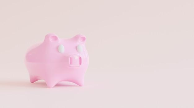 3d renderingring prosiątko bank z oszczędzanie pieniądze pojęciem.