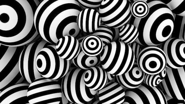 3d renderingu abstrakcjonistyczny tło z czarny i biały sferami