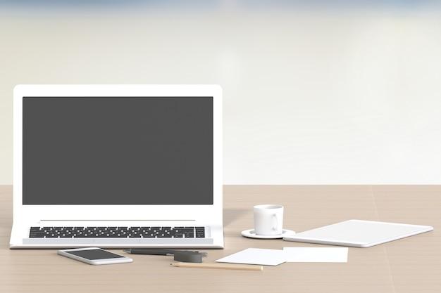 3d renderingu biurowy workspace na drewno stole