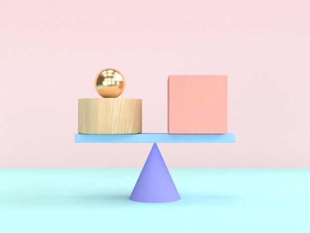 3d renderingu ciężkości pojęcia kształta abstrakcjonistyczny geometryczny pastelowy kolorowy
