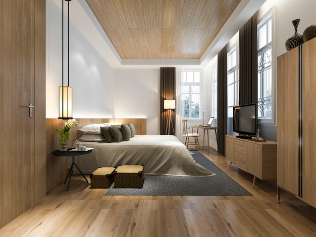 3d renderingu drewniana minimalna stylowa sypialnia z widokiem od okno