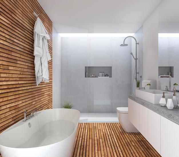 3d renderingu drewniana nowożytna łazienka z ładnym projektem