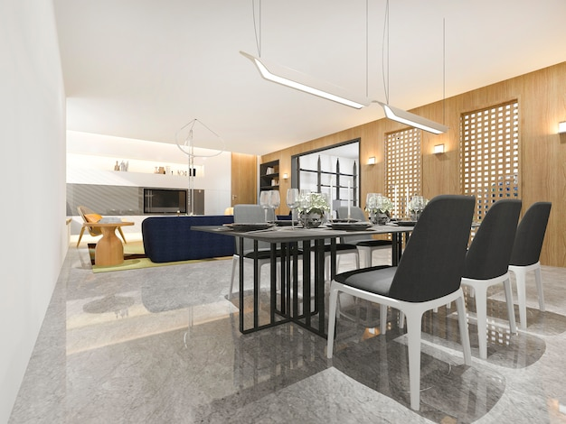 3d renderingu drewniany luksus, nowożytny salon i jadalnia