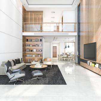 3d renderingu drewniany nowożytny żywy pokój i jadalnia
