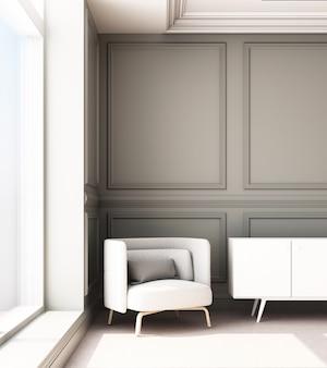 3d renderingu ilustracja żywy pokój z luksusowym klasycznym ściennym panelem i karłem