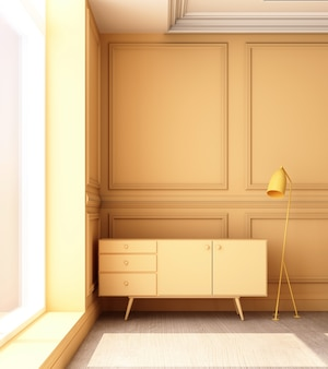 3d renderingu ilustracja żywy pokój z żółtym luksusowym klasycznym ściennym panelem i niskim gabinetem