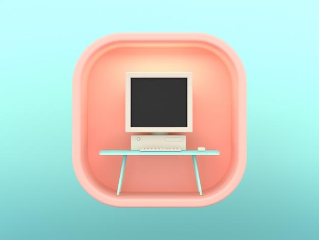3d renderingu kwadrata skeuomorphic ikony informatyka
