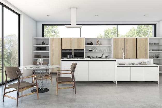 3d renderingu loft drewniana kuchnia z ładnym widokiem z okno