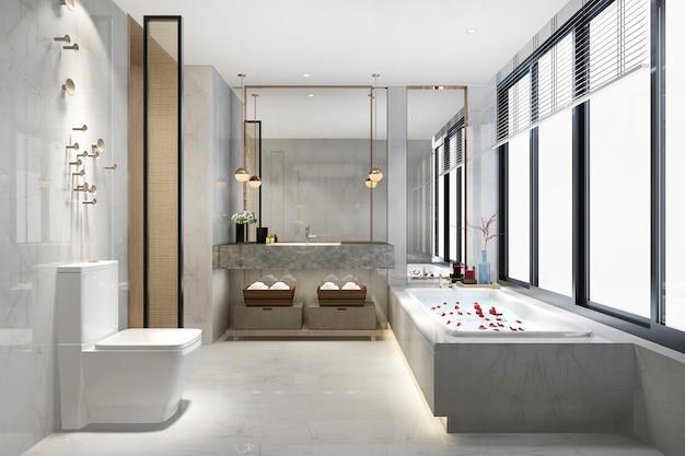 3d renderingu luksusowa nowożytna projekt łazienka i toaleta