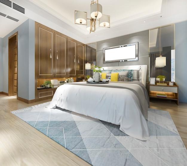 3d renderingu luksusowa nowożytna sypialnia z drewnianą szafką i świecznikiem