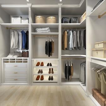 3d renderingu luksusowy drewniany spacer w szafie z garderobą