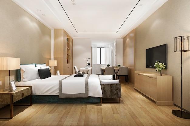 3d renderingu luksusowy nowożytny sypialnia apartament w hotelu z łomota stołem