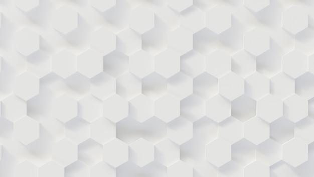 3d renderingu luksusowy nowy tło, biały honeycomb sześciokąta wzoru honeycomb, 3d ilustracja