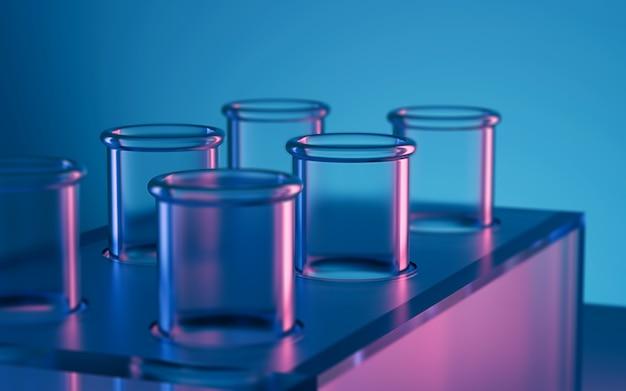 3d renderingu nauki laboratorium próbne tubki, laborancki wyposażenie.