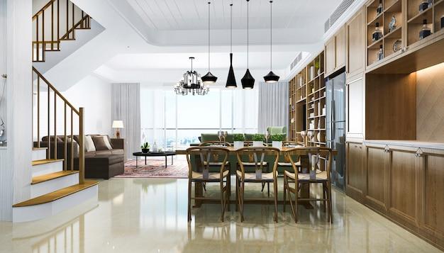 3d renderingu nowożytna jadalnia i chineese salon z luksusowym wystrojem