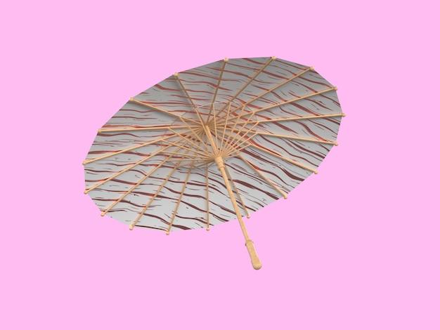 3d renderingu parasola różowy tło