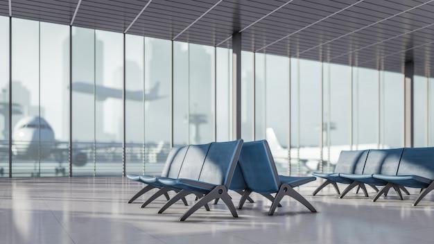 3d renderingu poczekalnia przy lotniskowego terminal ilustracją