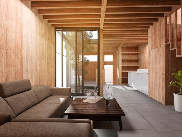 3d renderingu pokoju stylu stylu japoński żywy dom z drewnianym wystrojem