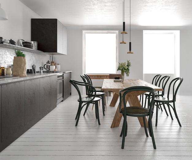 3d renderingu rocznika skandynawska kuchnia z łomotać stół