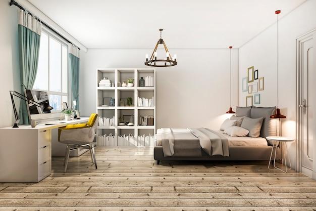 3d renderingu rocznika sypialnia z pracującym stołem