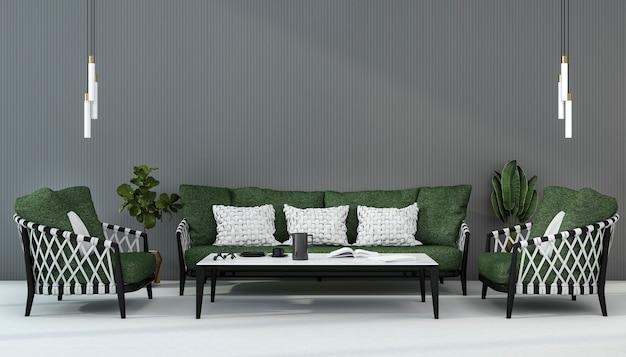 3d renderingu skandynawska zielona kanapa w żywym pokoju z fotelem