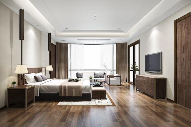 3d renderingu sypialni luksusowy chiński apartament w hotelu w kurorcie