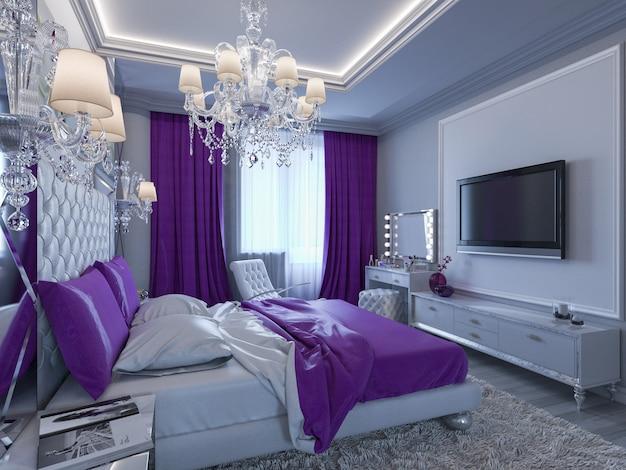 3d renderingu sypialnia w szarych i bielu brzmieniach z purpurowymi akcentami