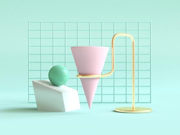 3d renderingu zielonego tła kształta geometrycznego abstrakta wciąż życia sceny menchii zielony złoto